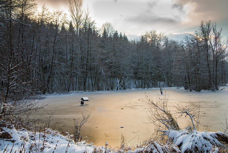 Winter Landscape With Frozen Lake And Warm Evening ...
