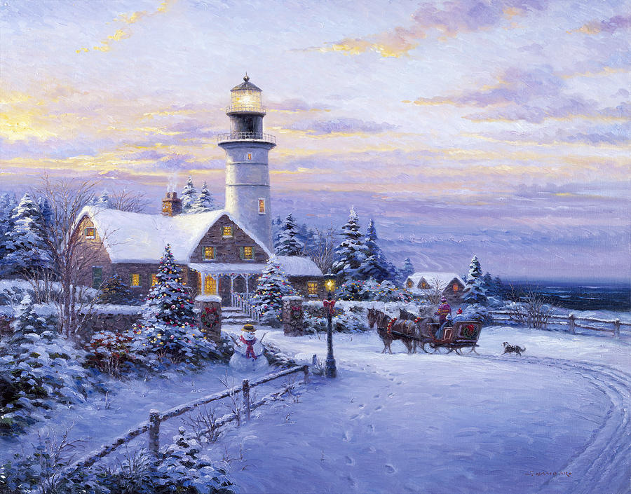 Woman Painting - Winter Lighthouse by Ghambaro