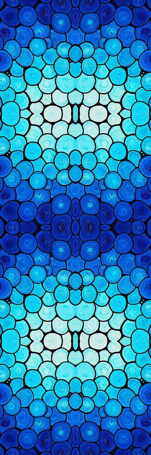 Pattern Painting - Winter Lights - Blue Mosaic Art By Sharon Cummings by Sharon Cummings