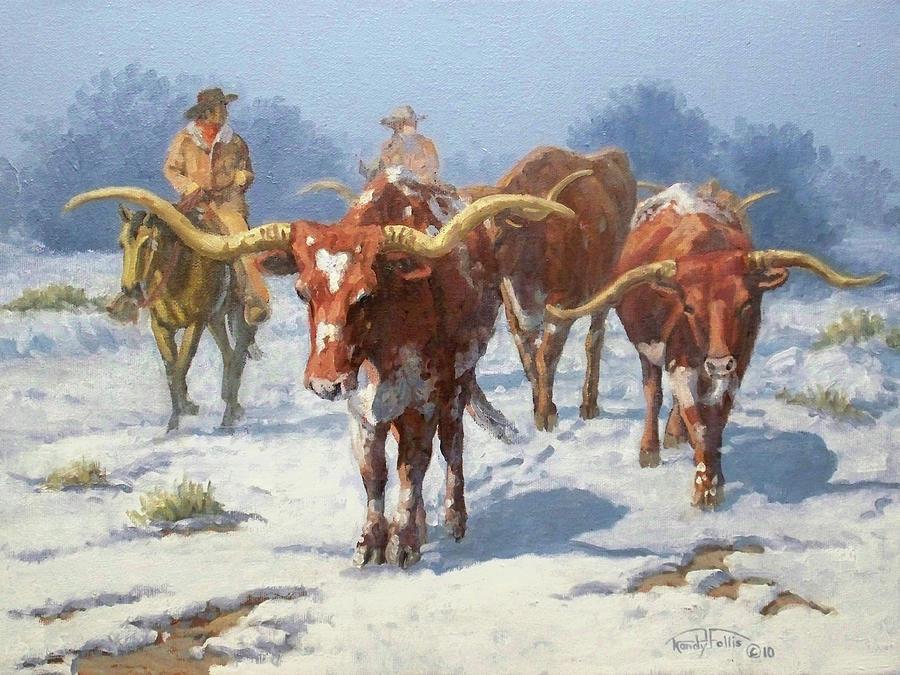 Longhorn Painting - Winter Longhorns by Randy Follis