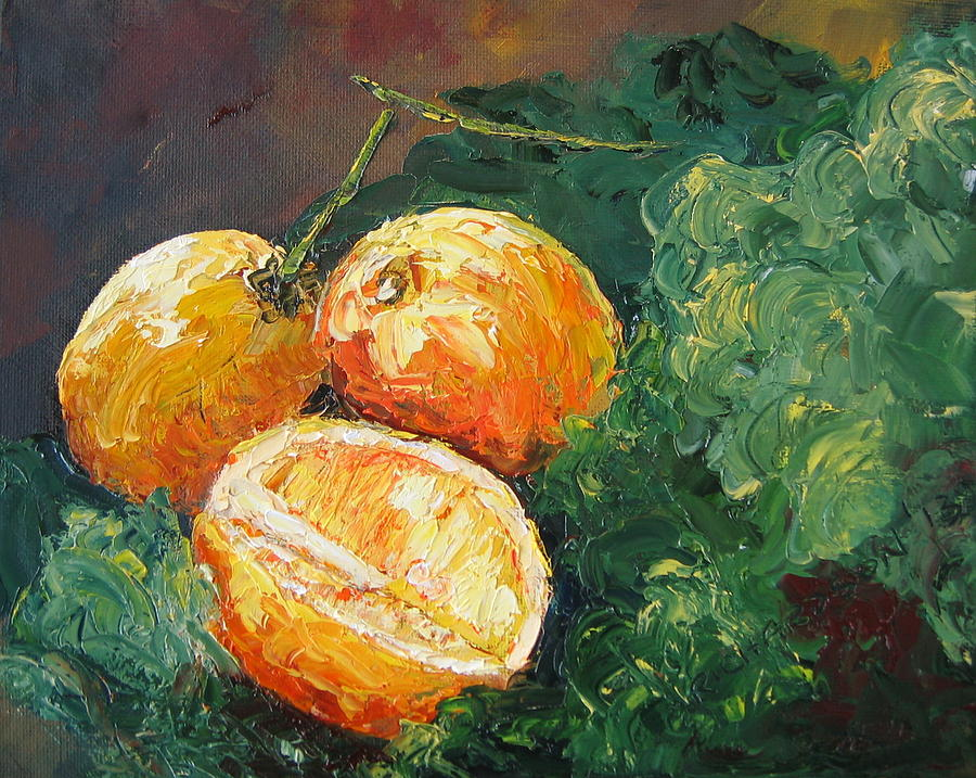 Lemons Painting - Winter Meyer Lemons And Kale by Susan Richardson