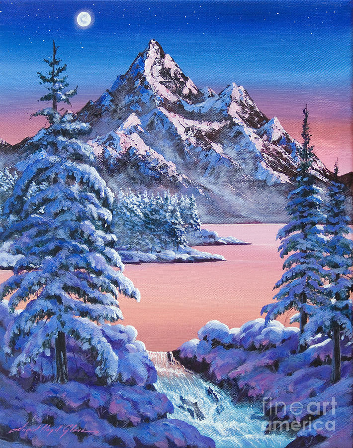 Landscape Painting - Winter Moon by David Lloyd Glover