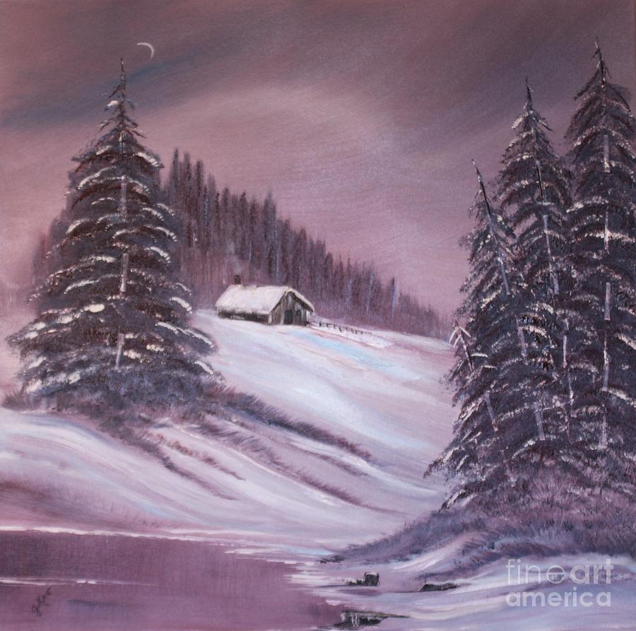 Landscape Painting - Winter Moon by Janice Rae Pariza