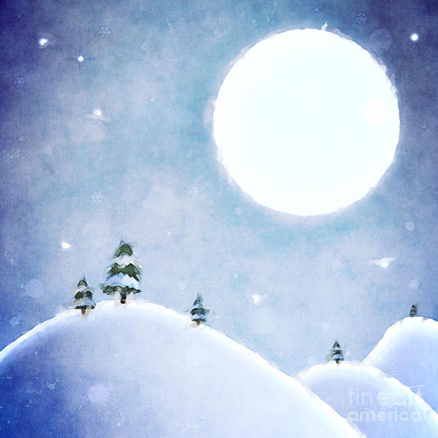 Moon Digital Art - Winter Moon Over Snowy Landscape by Phil Perkins