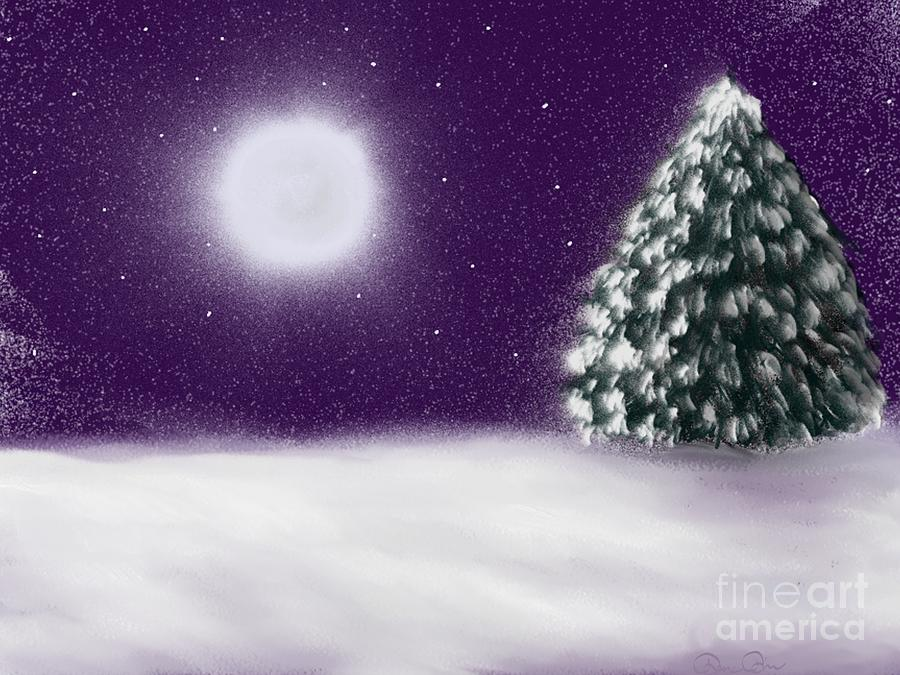 Tree Painting - Winter Moon by Roxy Riou