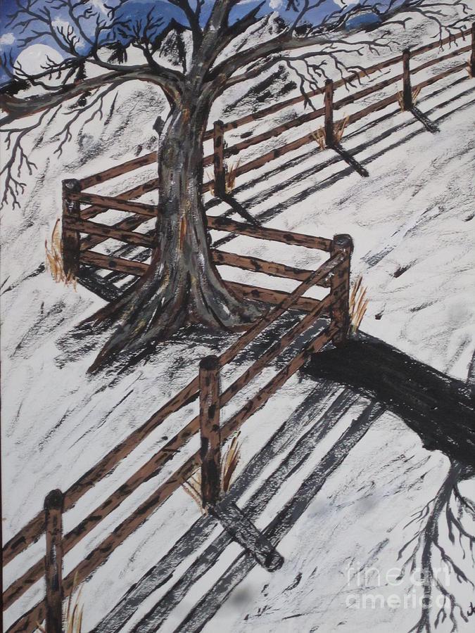 Winter Night Painting - Winter Moon Shadow by Jeffrey Koss