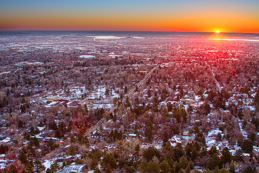 Winter Morning Sunrise Over Boulder Colorado University Photograph