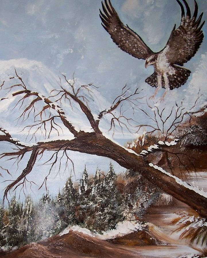 Eagle Painting - Winter Nesting by Martha Mullins
