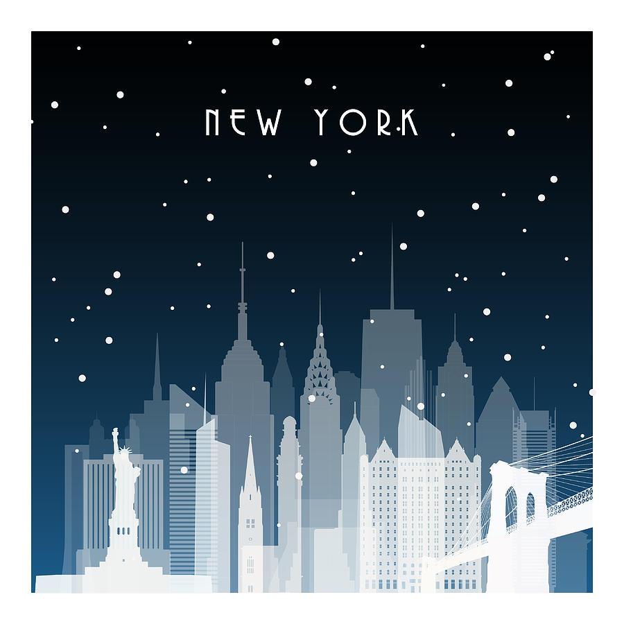 Winter Night In New York. Night City In Digital Art by Greens87
