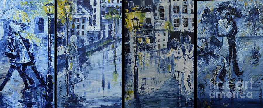Winter Painting - Winter Night In The City by Roni Ruth Palmer