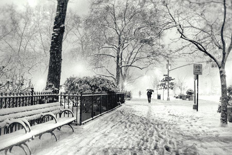 New York City Photograph - Winter Night - Snow - Madison Square Park - New York City by Vivienne Gucwa