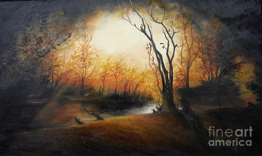 Landscape Painting - Winter Night by Sorin Apostolescu
