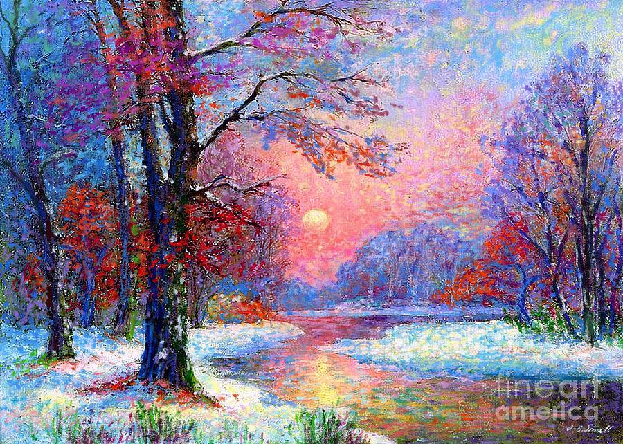 Woodland Painting - Winter Nightfall, Snow Scene  by Jane Small