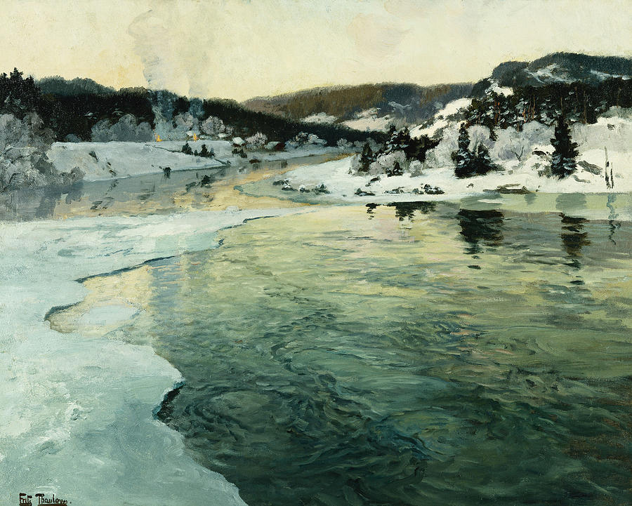 Winter On The Mesna River Near Lillehammer Painting By