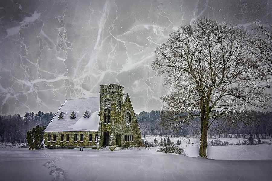 Winter Photograph - Winter on the Old Stone Church by Bob Bernier