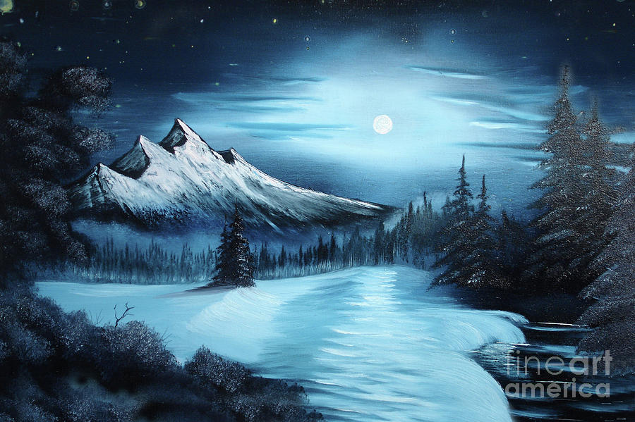 Painting Painting - Winter Painting A La Bob Ross by Bruno Santoro