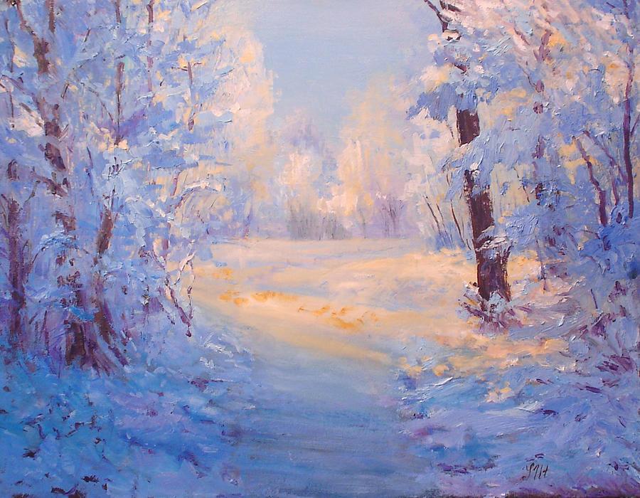 Landscape Painting - Winter Path. by Julia Utiasheva