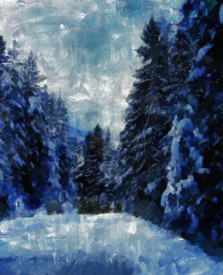 Winter Painting - Winter Piny Forest by Georgi Dimitrov