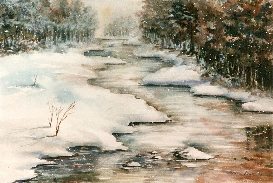 Winter Painting - Winter Reflections by Kristine Plum