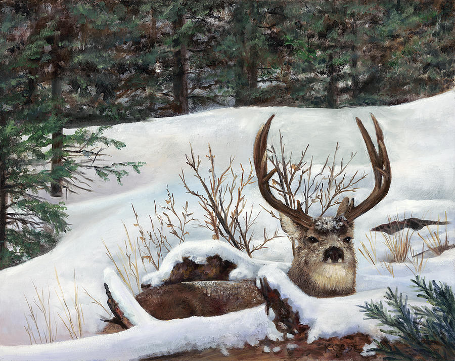 Deer Painting - Winter Rest by Karen Cade