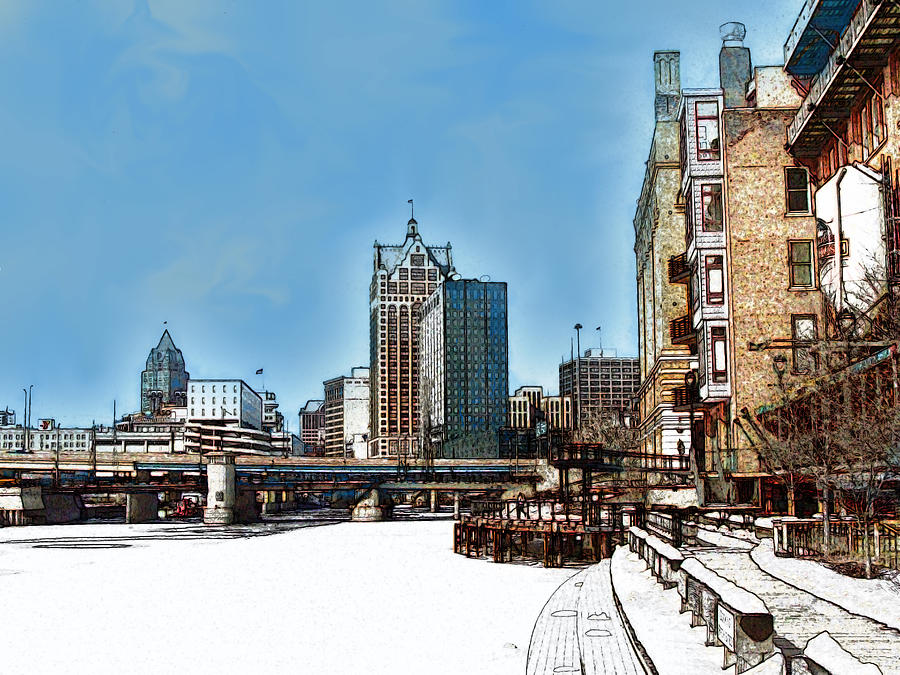 Milwaukee Digital Art - Winter River Walk in Milwaukee Wisconsin by David Blank