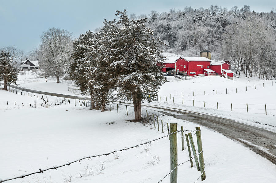 Old Red Barn Photograph - Winter Road by Bill Wakeley