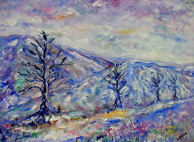 Winter Painting - Winter Road by Laura Corebello