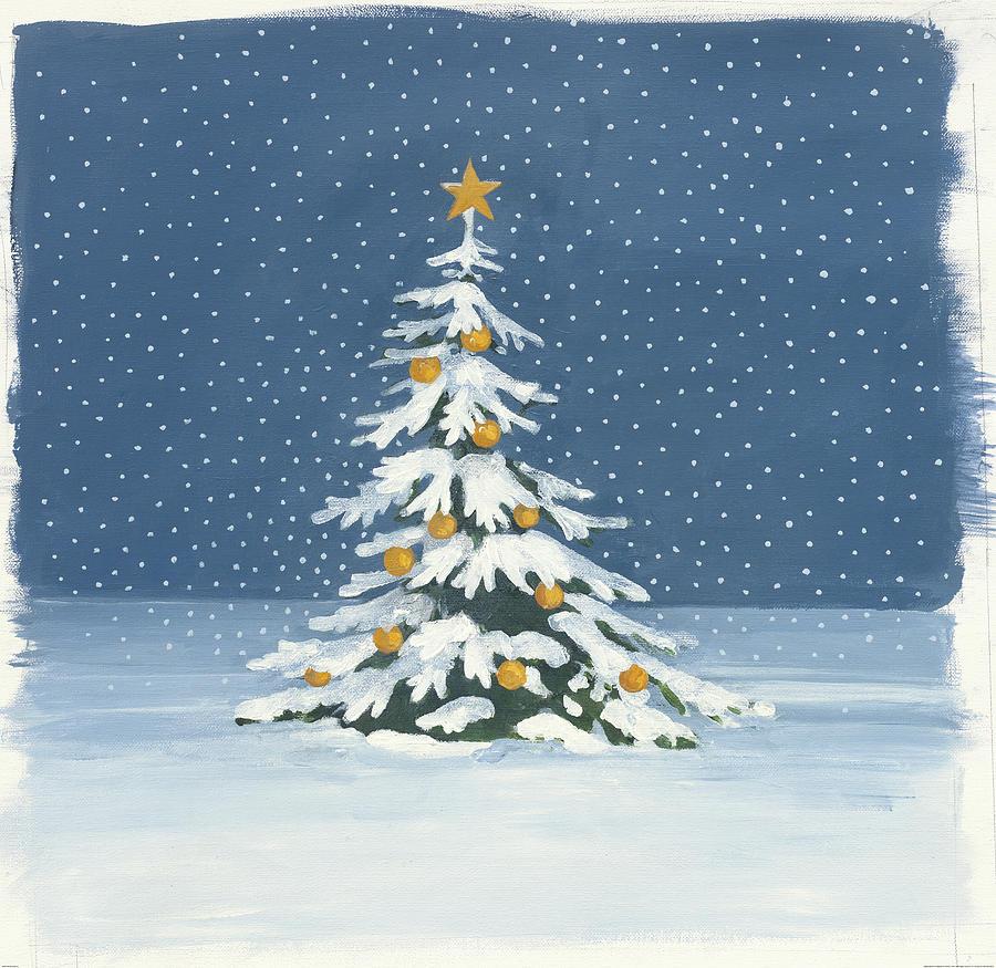 Christmas Painting - Winter Scene Iv by Wild Apple Portfolio