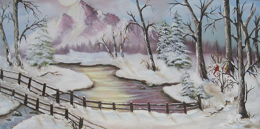 Christmas Painting - Winter Scene by Joni McPherson