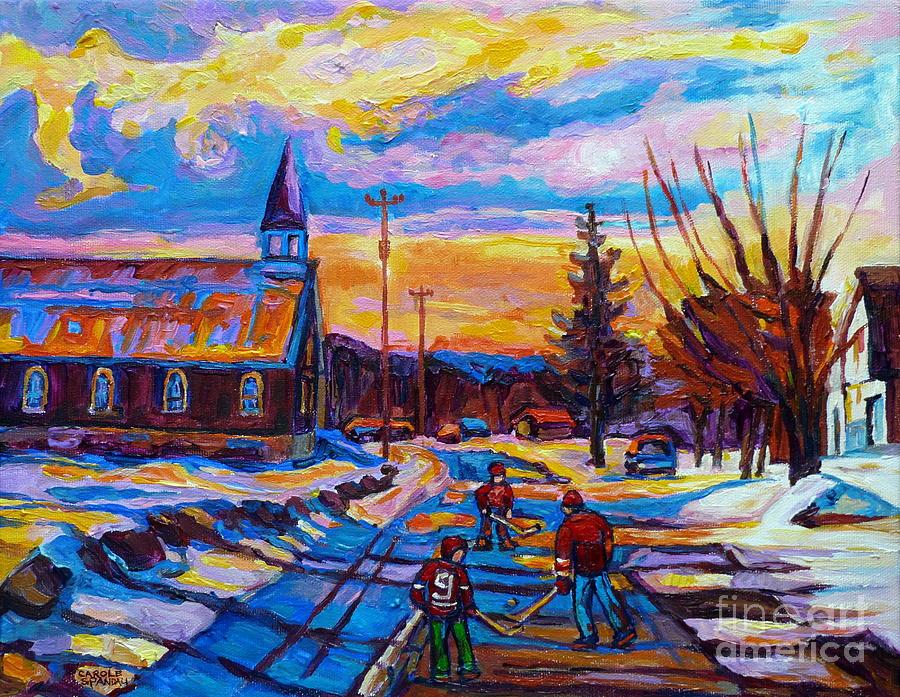 Hockey Painting - Winter Scene Painting-hockey Game In The Village-rural Hockey Scene by Carole Spandau