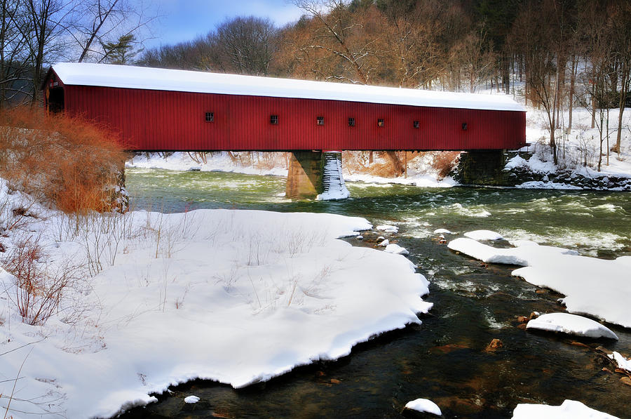 Covered Bridge Photograph - Winter Scene-west Cornwall Covered Bridge by Thomas Schoeller