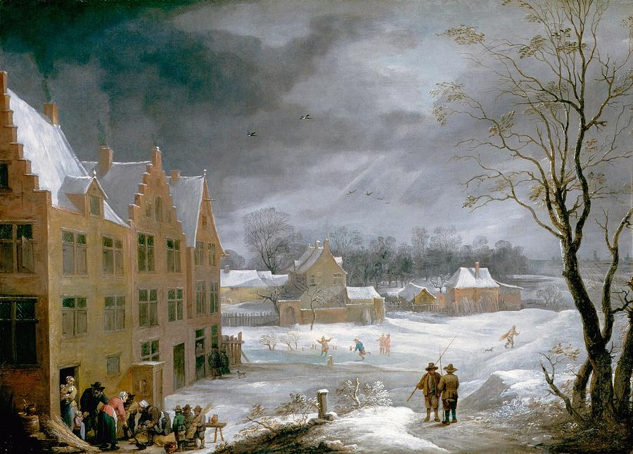 1650 Painting - Winter Scene With A Man Killing A Pig by David Teniers the Younger