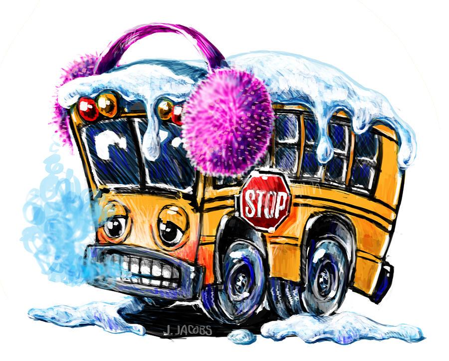 Winter School bus Digital Art by Jake Jacobs