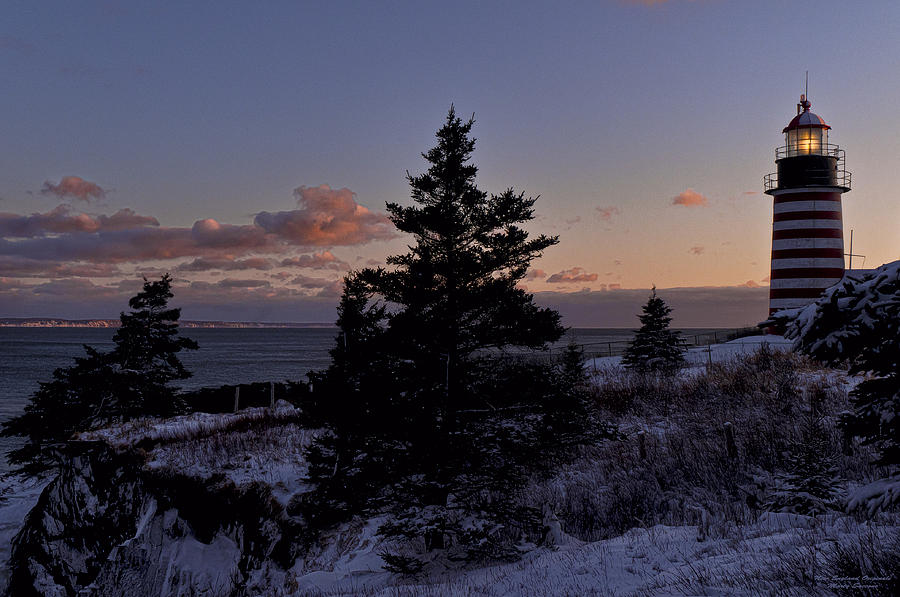 West Quoddy Head Lighthouse Photograph - Winter Sentinel Lighthouse by Marty Saccone