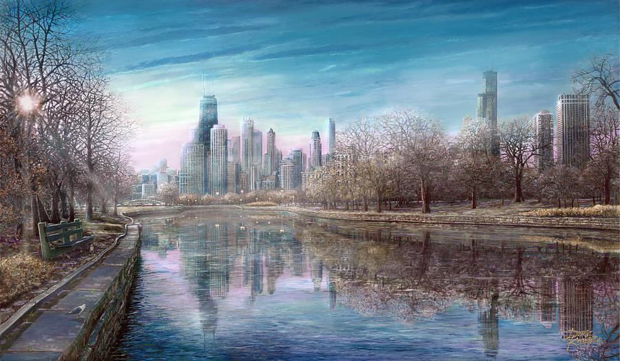 Chicago Skyline Painting - Winter Serenity Frost by Doug Kreuger