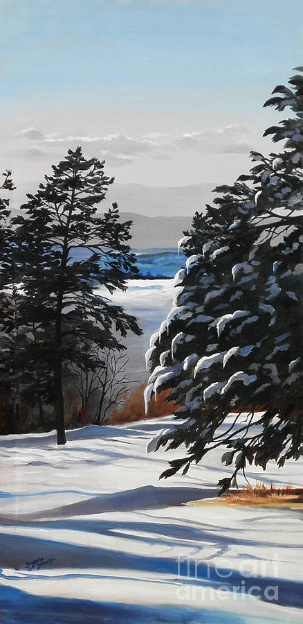 Winter Scene Painting - Winter Serenity by Suzanne Schaefer