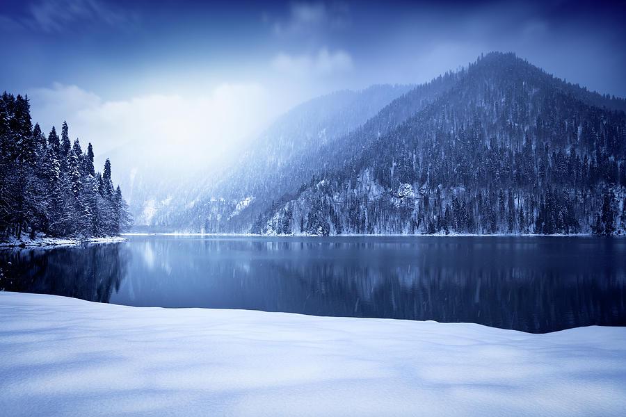 Winter Shot Of Lake In Mountains Photograph by Sankai