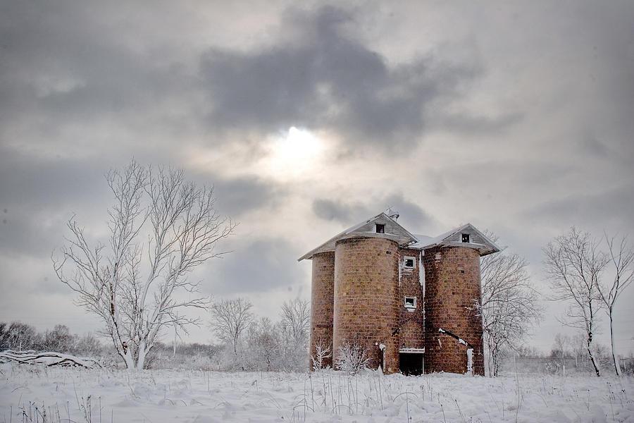 Tile Silo Photograph - Winter Silo by Karen Varnas