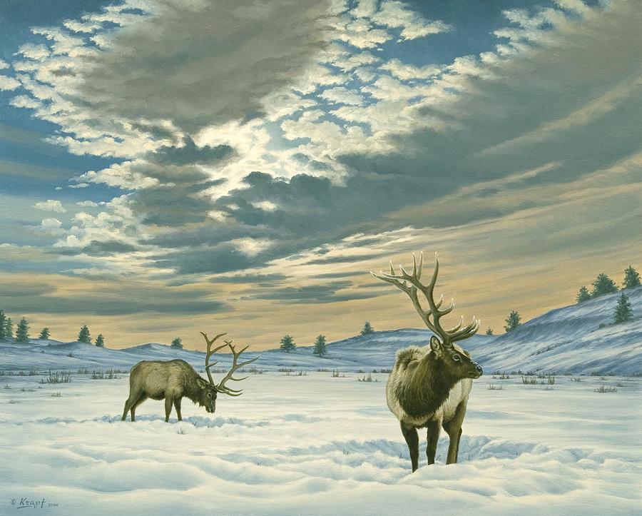 Wildlife Painting - Winter Sky-elk   by Paul Krapf