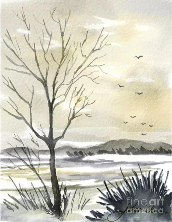 Winter Painting - Winter Sky by Joan A Hamilton