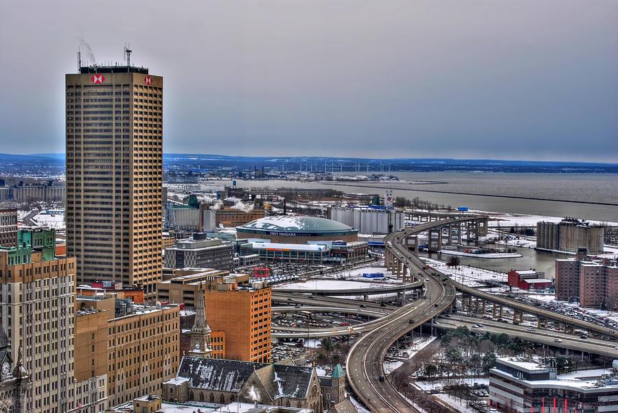 Winter Skyway Downtown Buffalo Ny Photograph by Michael Frank Jr