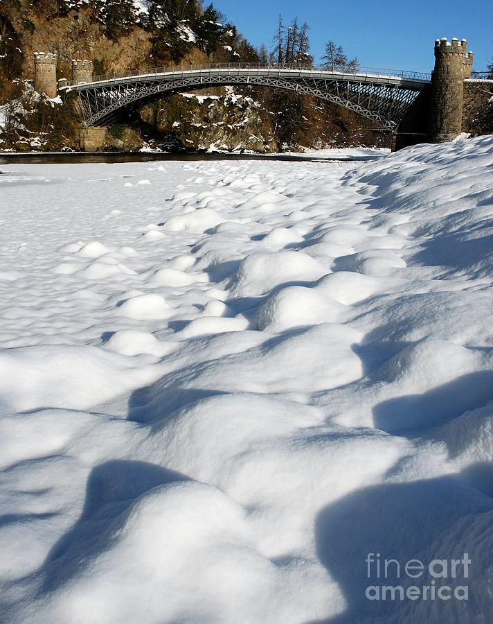Winter Photograph - Winter Snow Craigellachie Bridge Scotland by John Kelly