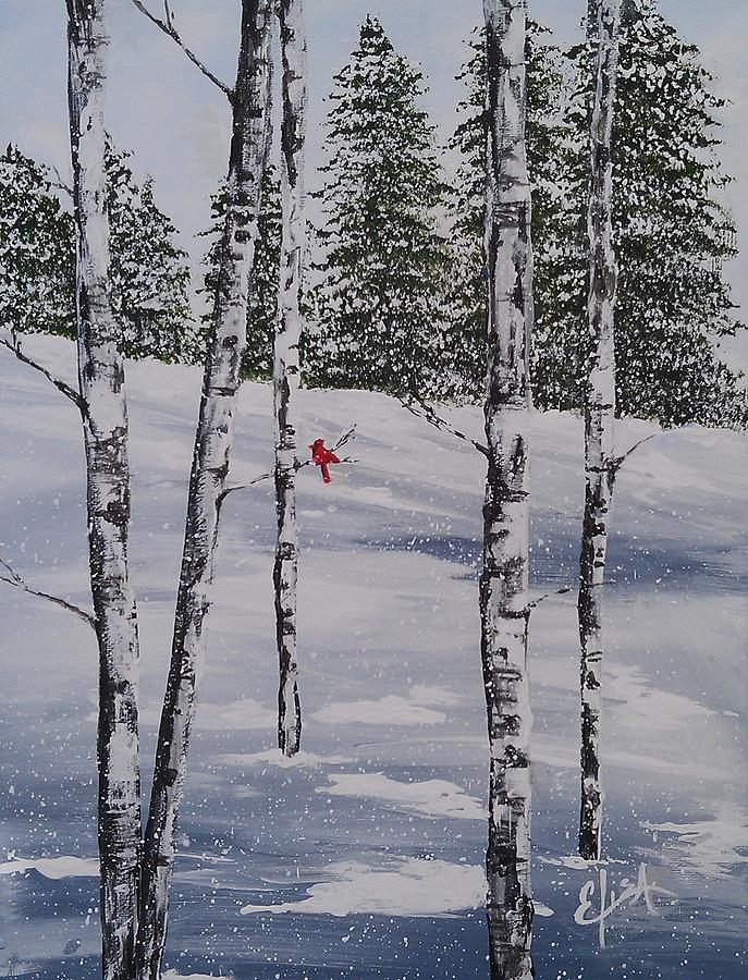 White Birch Trees Painting - Winter Snow by Elisa Gabrielli