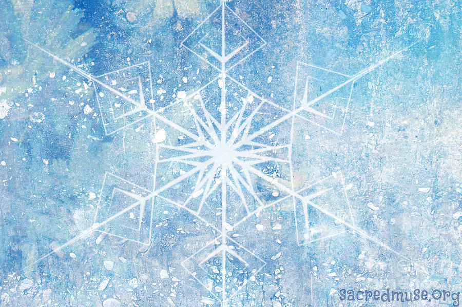 Winter Painting - Winter Snow Flake by Sacred  Muse