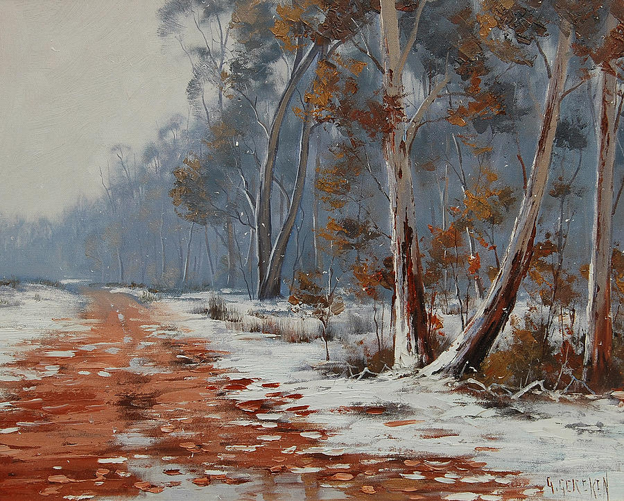 Winter Painting - Winter Snow Gums  by Graham Gercken