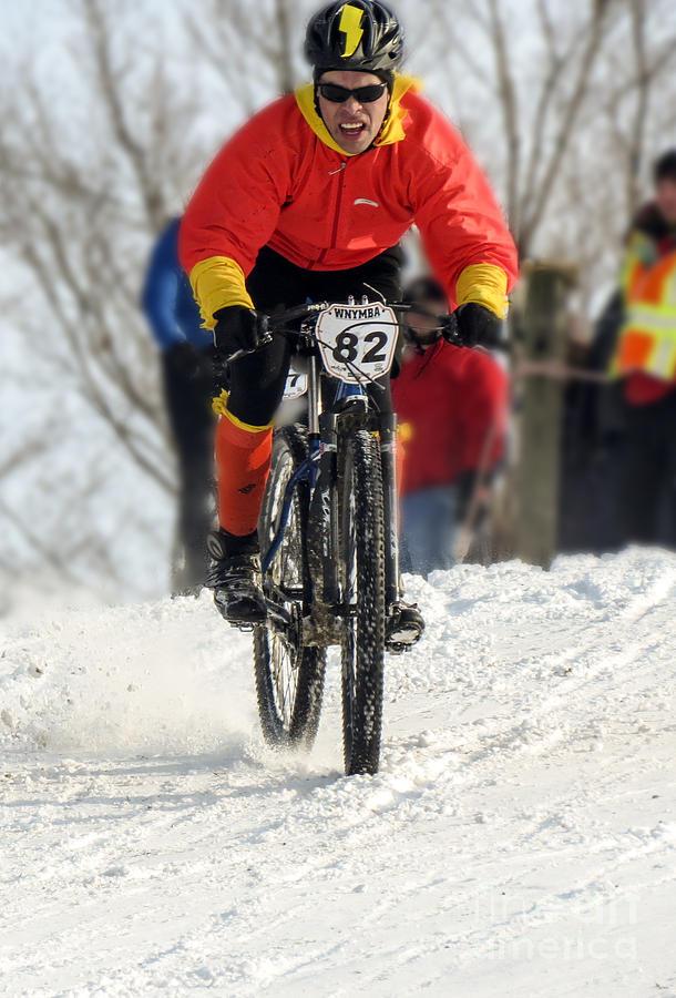 Bike Photograph - Winter Snow Mountain Bike Race by Darleen Stry