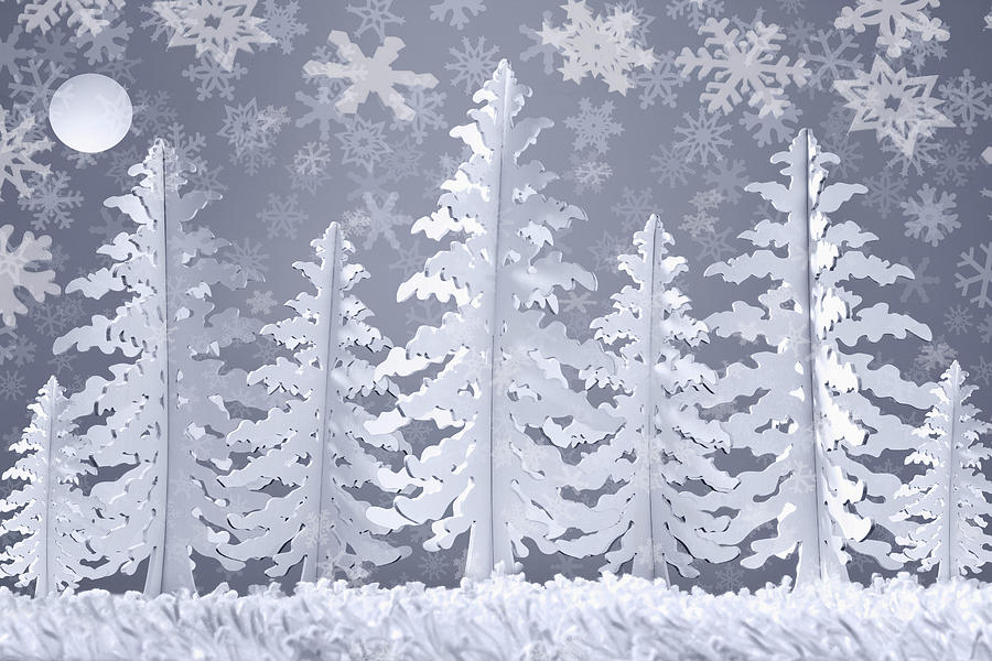 Winter Snow Scene Made From Card And Digital Art by Andrew Bret Wallis