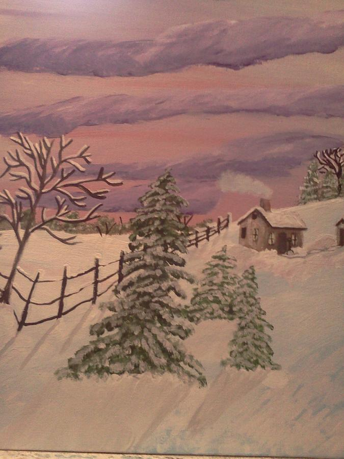 Landscape. With Trees And Cabin. Abd Outhouse And Fence Painting - Winter Solitude by Renee McKnight