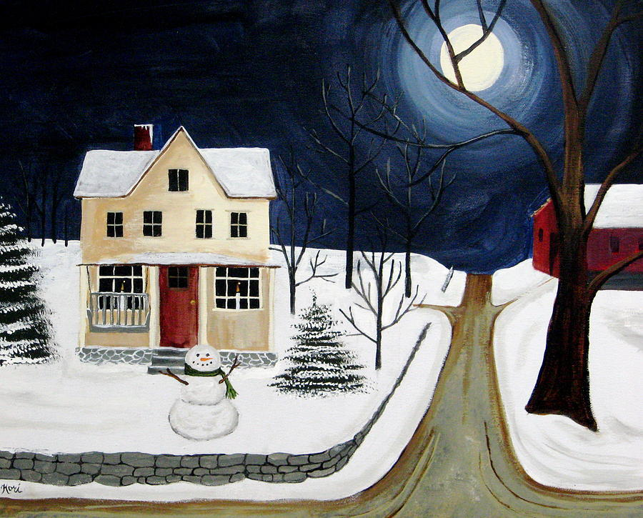 Snowman Painting - Winter Solo by Kori Vincent