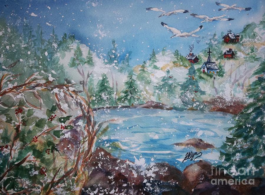 Quaint Country Village Painting - Winter Solstice by Ellen Levinson